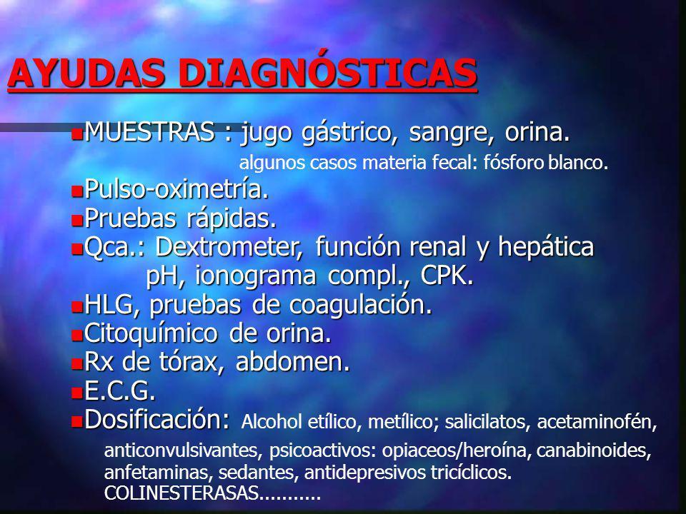 AYUDAS DIAGNÓSTICAS MUESTRAS : jugo gástrico, sangre, orina.