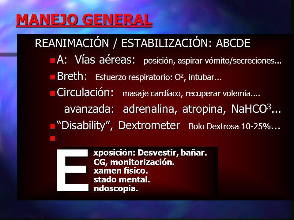 REANIMACIÓN / ESTABILIZACIÓN: ABCDE A: Vías aéreas: A: Vías aéreas: posición, aspirar vómito/secreciones...