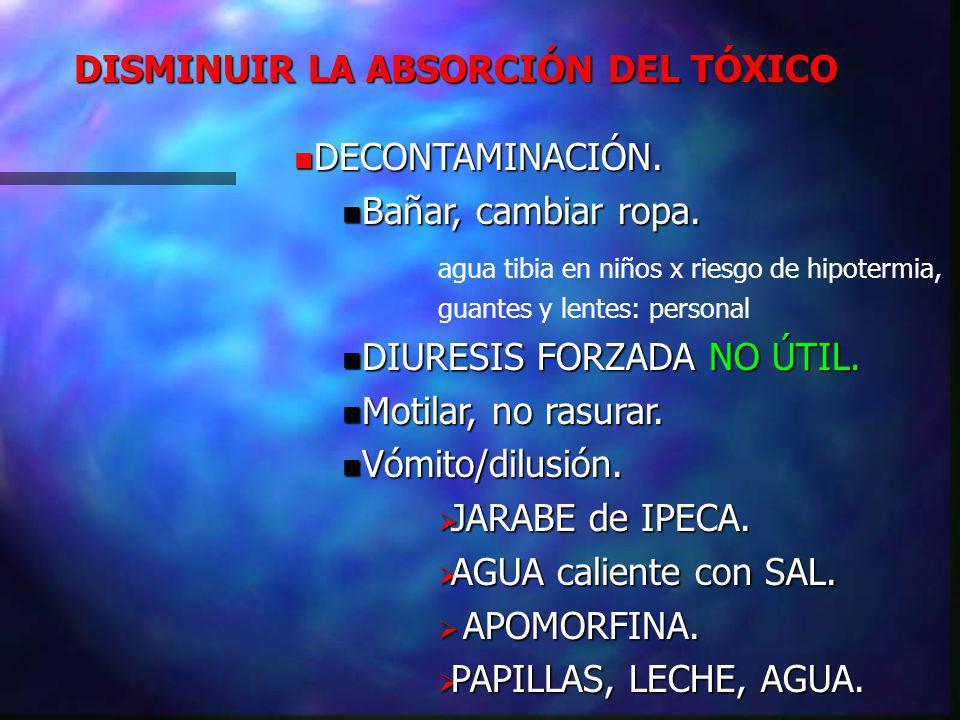 DISMINUIR LA ABSORCIÓN DEL TÓXICO DECONTAMINACIÓN.