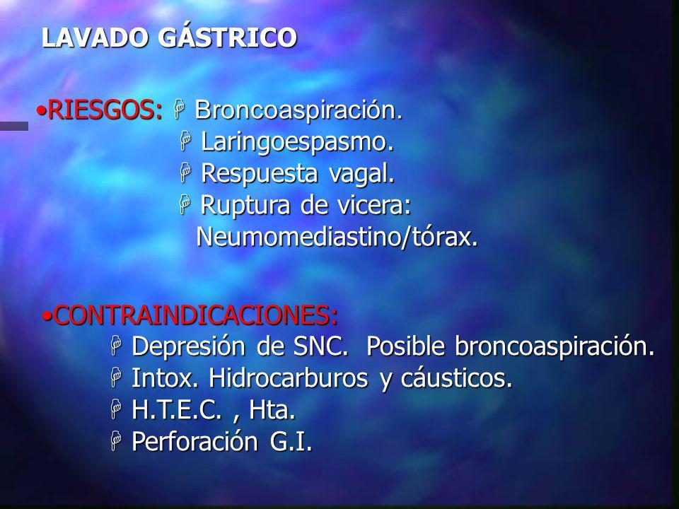 LAVADO GÁSTRICO RIESGOS: H Broncoaspiración.RIESGOS: H Broncoaspiración.