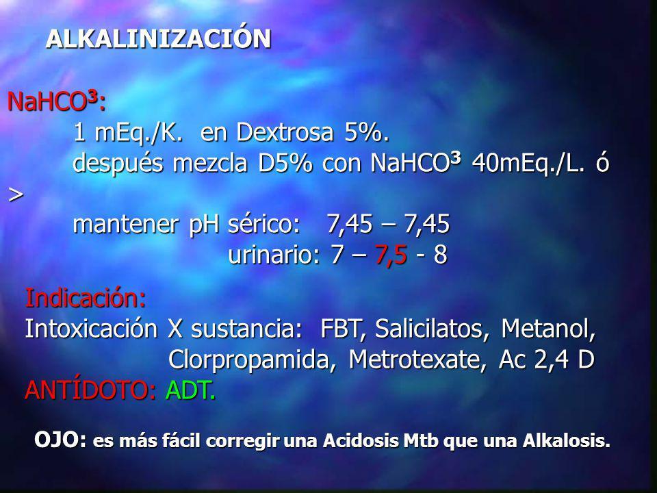 ALKALINIZACIÓN Indicación: Intoxicación X sustancia: FBT, Salicilatos, Metanol, Clorpropamida, Metrotexate, Ac 2,4 D Clorpropamida, Metrotexate, Ac 2,4 D ANTÍDOTO: ADT.