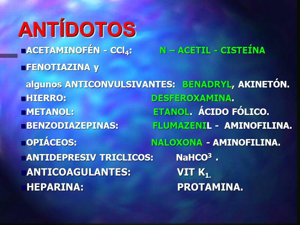 ANTÍDOTOSANTÍDOTOS ACETAMINOFÉN - CCl 4 : N – ACETIL - CISTEÍNA ACETAMINOFÉN - CCl 4 : N – ACETIL - CISTEÍNA FENOTIAZINA y FENOTIAZINA y algunos ANTICONVULSIVANTES: BENADRYL, AKINETÓN.