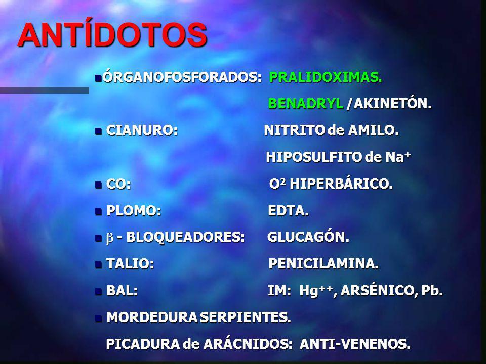 ANTÍDOTOS ÓRGANOFOSFORADOS: PRALIDOXIMAS.ÓRGANOFOSFORADOS: PRALIDOXIMAS.