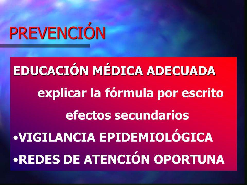 PREVENCIÓN EDUCACIÓN MÉDICA ADECUADA explicar la fórmula por escrito efectos secundarios VIGILANCIA EPIDEMIOLÓGICA REDES DE ATENCIÓN OPORTUNA