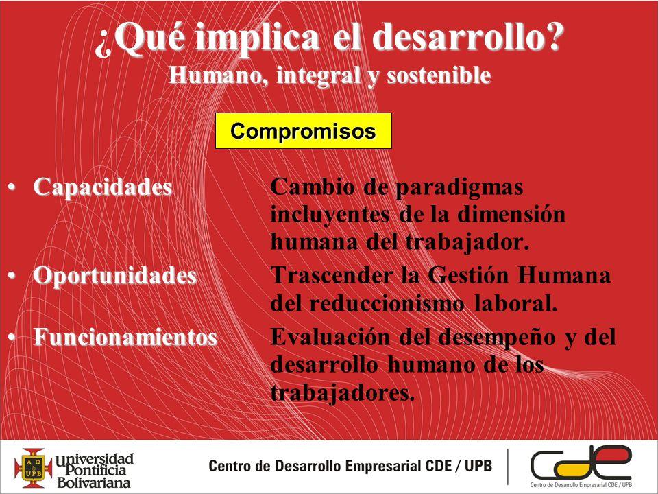 Qué implica el desarrollo? Humano, integral y sostenible ¿Qué implica el desarrollo? Humano, integral y sostenible CapacidadesCapacidadesCambio de par