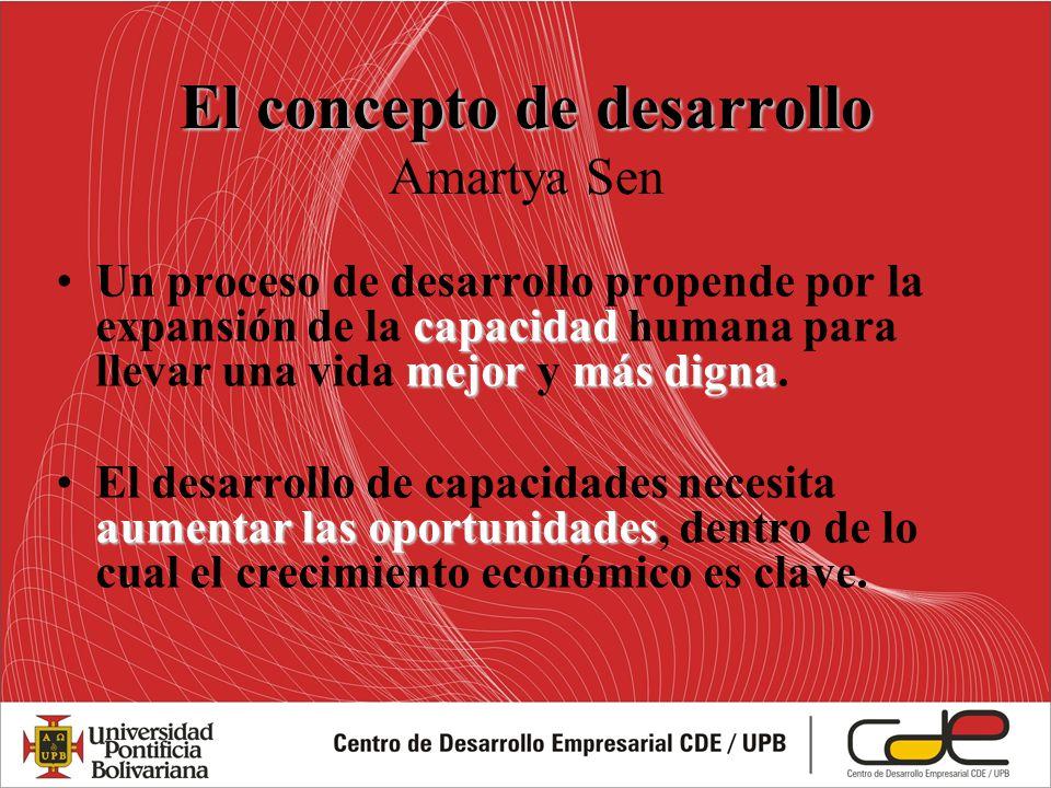 El concepto de desarrollo El concepto de desarrollo Amartya Sen capacidad mejormás dignaUn proceso de desarrollo propende por la expansión de la capac
