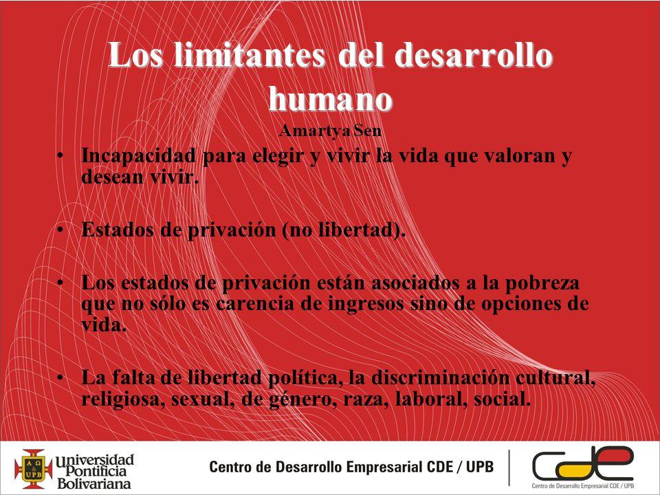 Los limitantes del desarrollo humano Los limitantes del desarrollo humano Amartya Sen Incapacidad para elegir y vivir la vida que valoran y desean viv