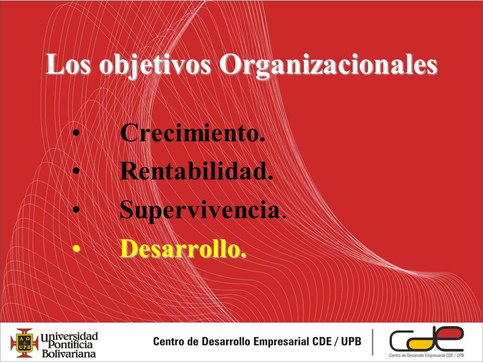 Crecimiento. Rentabilidad. Supervivencia. Desarrollo.Desarrollo. Los objetivos Organizacionales