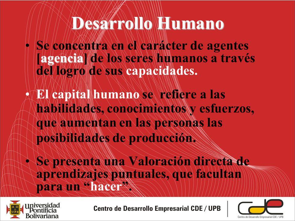 Desarrollo Humano agenciaSe concentra en el carácter de agentes [agencia] de los seres humanos a través del logro de sus capacidades. El capital human