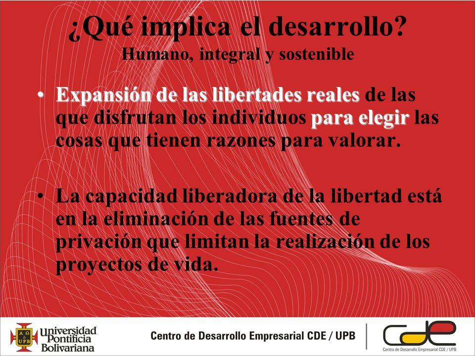 ¿Qué implica el desarrollo? Humano, integral y sostenible Expansión de las libertades reales para elegirExpansión de las libertades reales de las que
