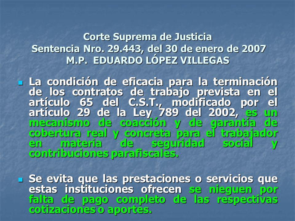 Corte Suprema de Justicia Sentencia Nro. 29.443, del 30 de enero de 2007 M.P. EDUARDO LÓPEZ VILLEGAS La condición de eficacia para la terminación de l