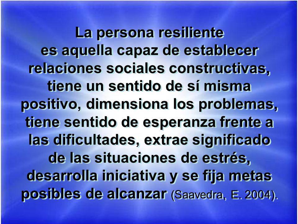 La persona resiliente es aquella capaz de establecer relaciones sociales constructivas, tiene un sentido de sí misma positivo, dimensiona los problema