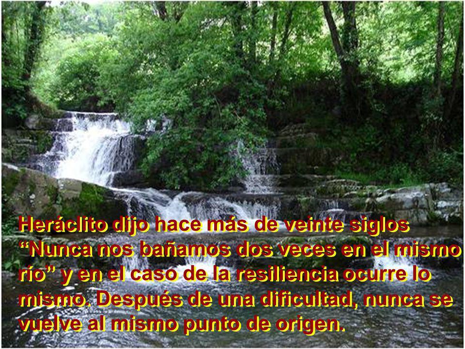 Heráclito dijo hace más de veinte siglos Nunca nos bañamos dos veces en el mismo río y en el caso de la resiliencia ocurre lo mismo. Después de una di