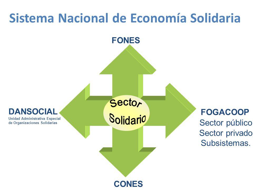 DANSOCIAL Unidad Administrativa Especial de Organizaciones Solidarias FONES FOGACOOP CONES Sector público Sector privado Subsistemas.