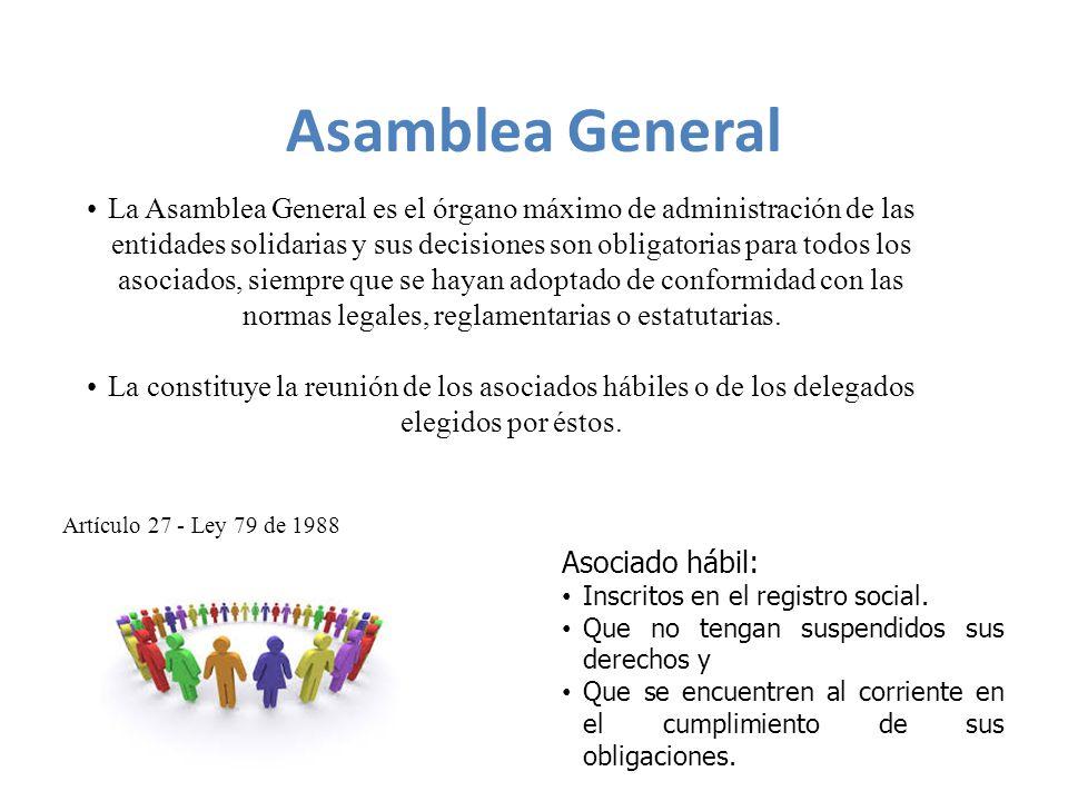 La Asamblea General es el órgano máximo de administración de las entidades solidarias y sus decisiones son obligatorias para todos los asociados, siempre que se hayan adoptado de conformidad con las normas legales, reglamentarias o estatutarias.