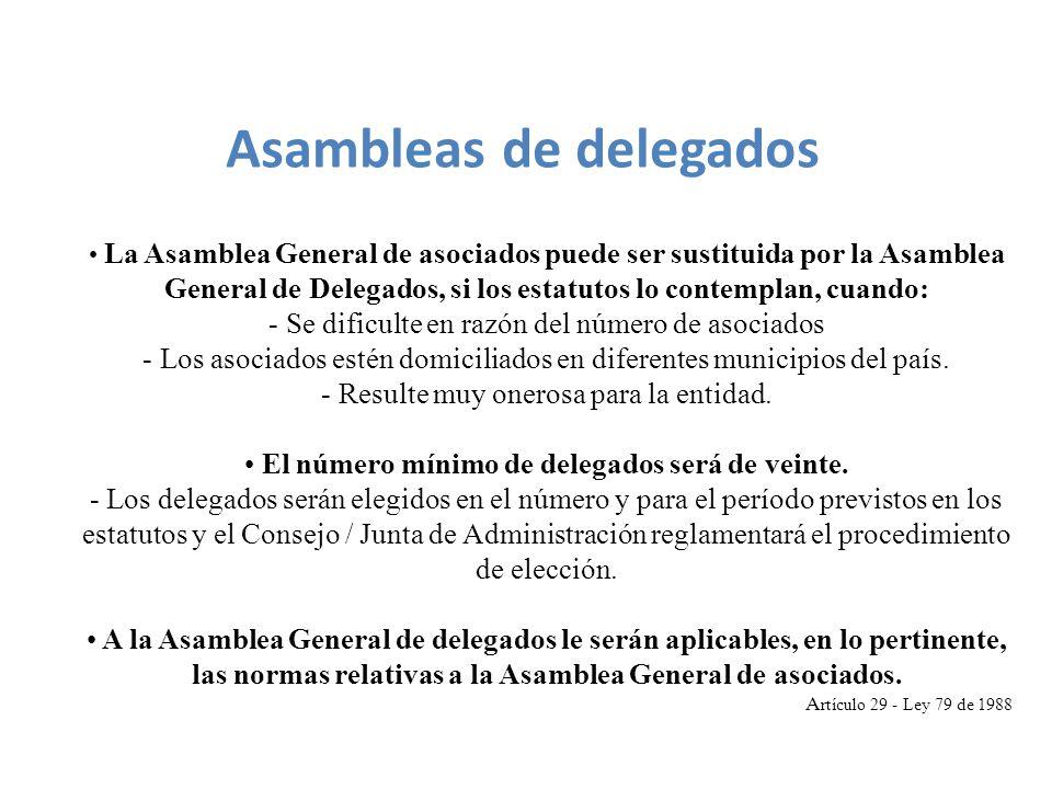 La Asamblea General de asociados puede ser sustituida por la Asamblea General de Delegados, si los estatutos lo contemplan, cuando: - Se dificulte en razón del número de asociados - Los asociados estén domiciliados en diferentes municipios del país.