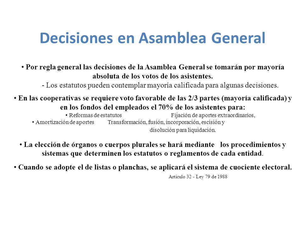 Por regla general las decisiones de la Asamblea General se tomarán por mayoría absoluta de los votos de los asistentes.