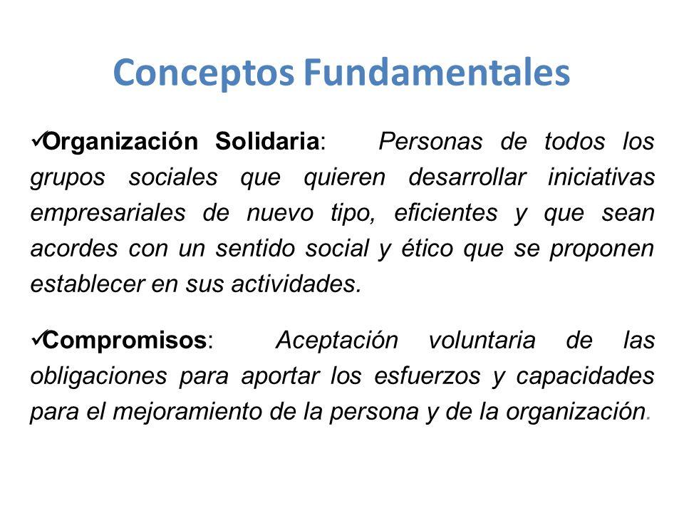 Organización Solidaria: Personas de todos los grupos sociales que quieren desarrollar iniciativas empresariales de nuevo tipo, eficientes y que sean acordes con un sentido social y ético que se proponen establecer en sus actividades.