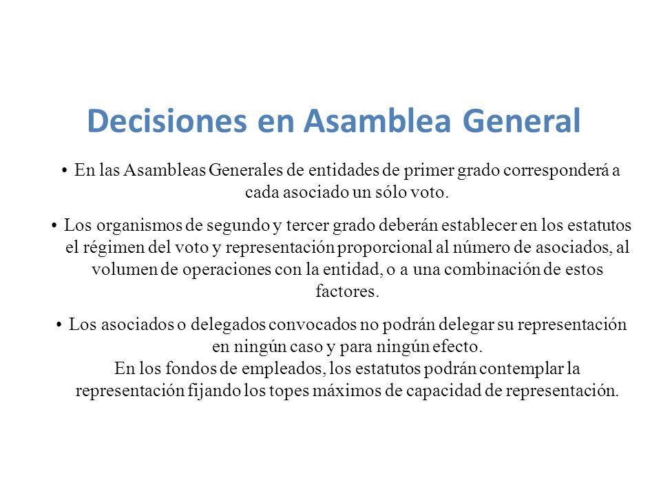 En las Asambleas Generales de entidades de primer grado corresponderá a cada asociado un sólo voto.