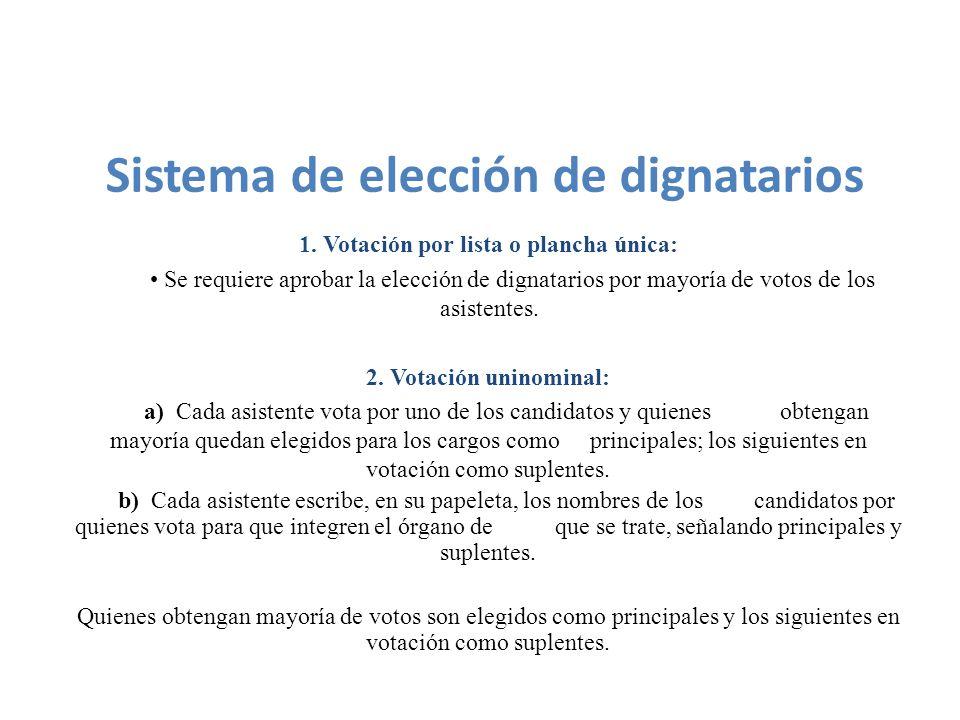 1. Votación por lista o plancha única: Se requiere aprobar la elección de dignatarios por mayoría de votos de los asistentes. 2. Votación uninominal:
