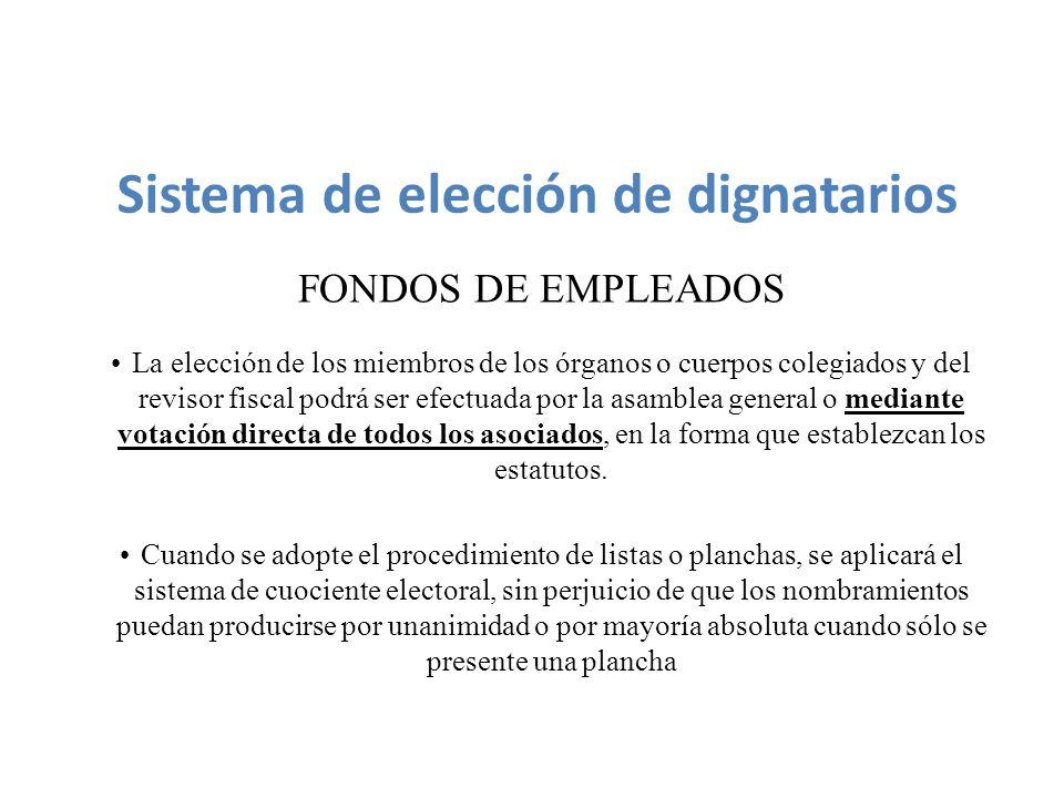 FONDOS DE EMPLEADOS La elección de los miembros de los órganos o cuerpos colegiados y del revisor fiscal podrá ser efectuada por la asamblea general o mediante votación directa de todos los asociados, en la forma que establezcan los estatutos.
