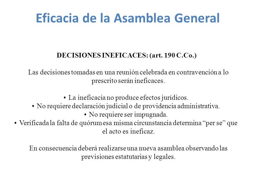 DECISIONES INEFICACES: (art.