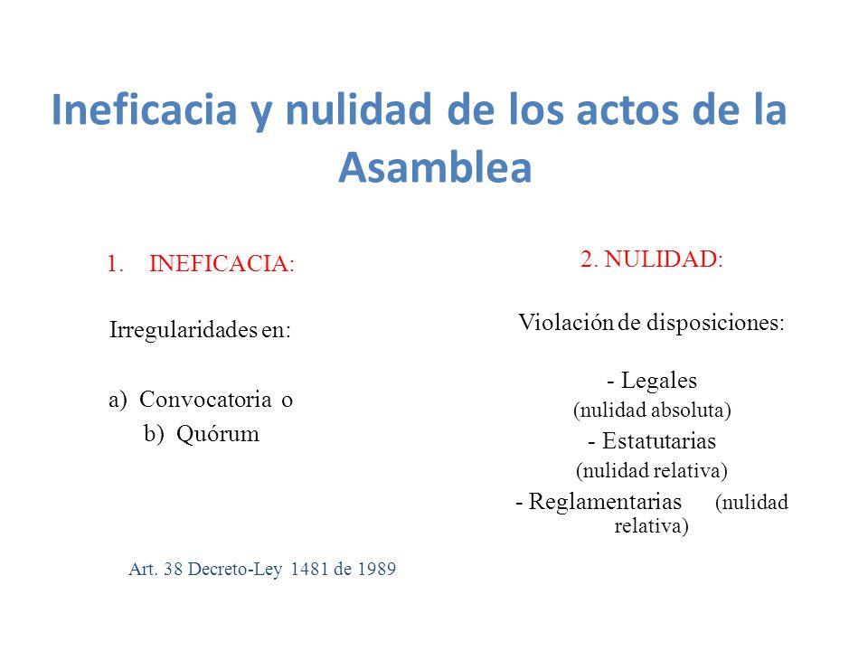 1.INEFICACIA: Irregularidades en: a) Convocatoria o b) Quórum 2.