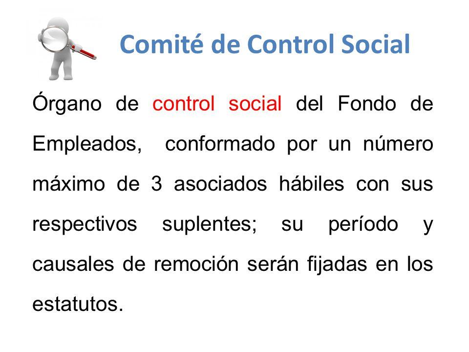 Órgano de control social del Fondo de Empleados, conformado por un número máximo de 3 asociados hábiles con sus respectivos suplentes; su período y causales de remoción serán fijadas en los estatutos.