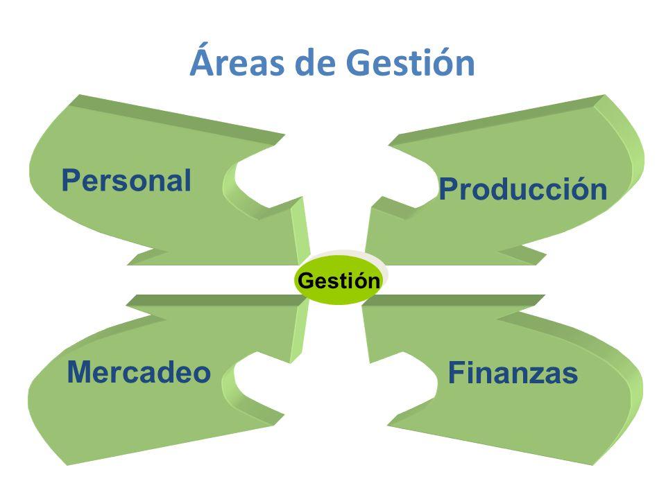 Personal Producción Mercadeo Finanzas Gestión Áreas de Gestión