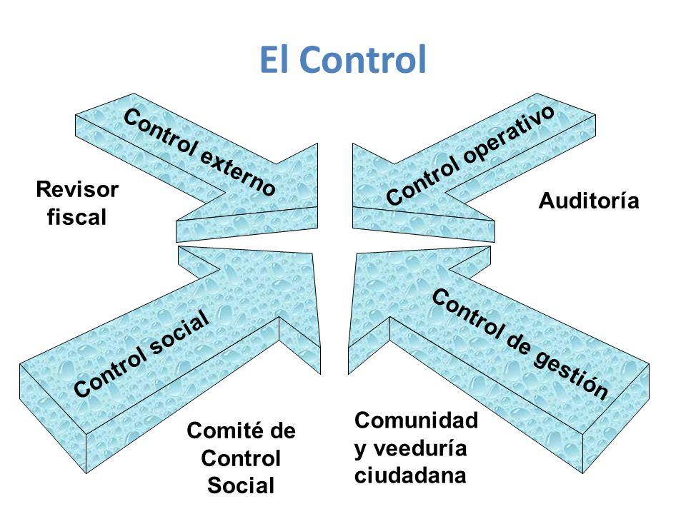 Control social Control de gestión Control externo Control operativo Revisor fiscal Auditoría Comité de Control Social Comunidad y veeduría ciudadana El Control
