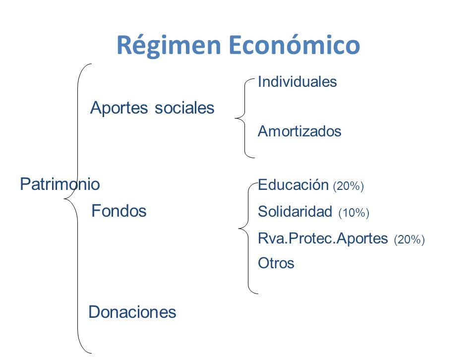 Régimen Económico Individuales Aportes sociales Amortizados Patrimonio Educación (20%) Fondos Solidaridad (10%) Rva.Protec.Aportes (20%) Otros Donaciones
