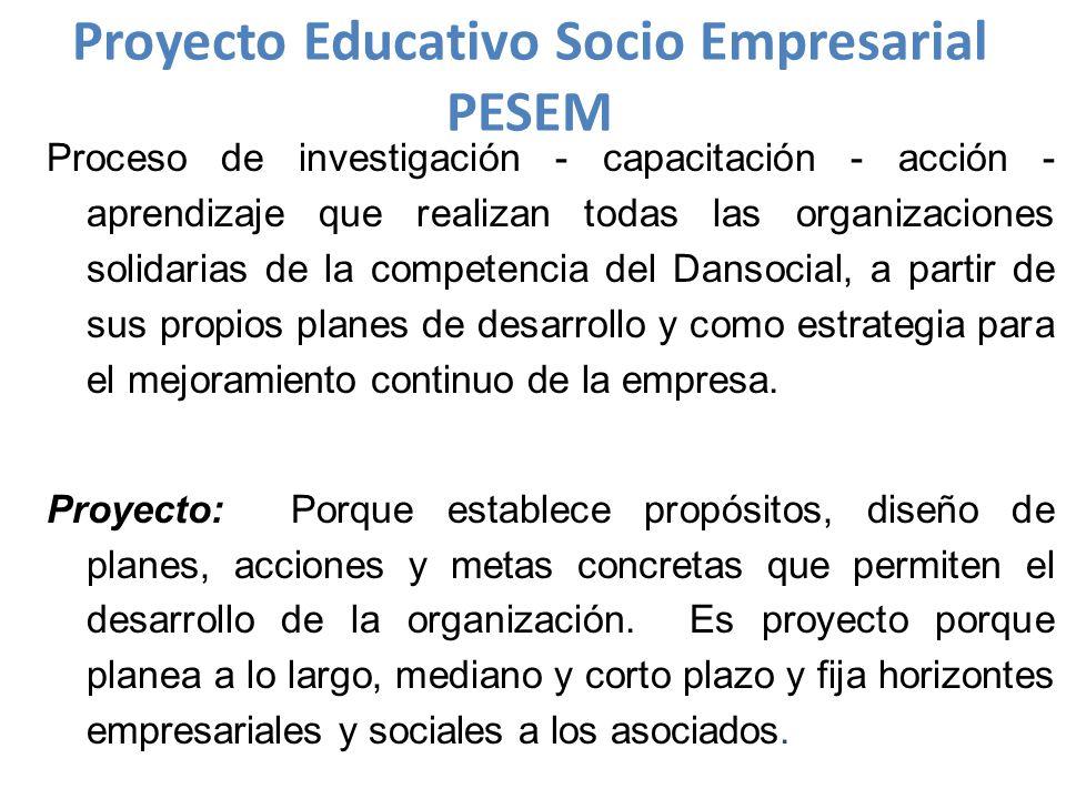 Proyecto Educativo Socio Empresarial PESEM Proceso de investigación - capacitación - acción - aprendizaje que realizan todas las organizaciones solidarias de la competencia del Dansocial, a partir de sus propios planes de desarrollo y como estrategia para el mejoramiento continuo de la empresa.