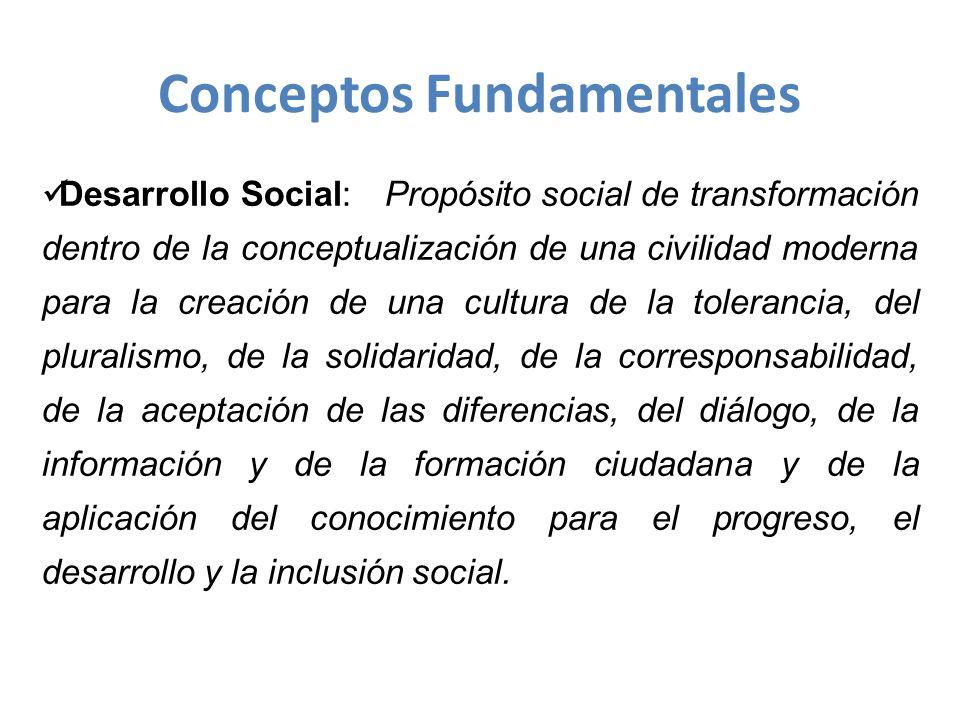 Desarrollo Social: Propósito social de transformación dentro de la conceptualización de una civilidad moderna para la creación de una cultura de la tolerancia, del pluralismo, de la solidaridad, de la corresponsabilidad, de la aceptación de las diferencias, del diálogo, de la información y de la formación ciudadana y de la aplicación del conocimiento para el progreso, el desarrollo y la inclusión social.