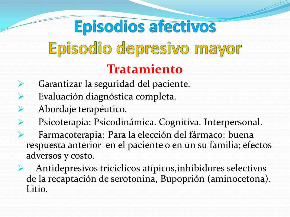 Tratamiento Garantizar la seguridad del paciente. Evaluación diagnóstica completa. Abordaje terapéutico. Psicoterapia: Psicodinámica. Cognitiva. Inter