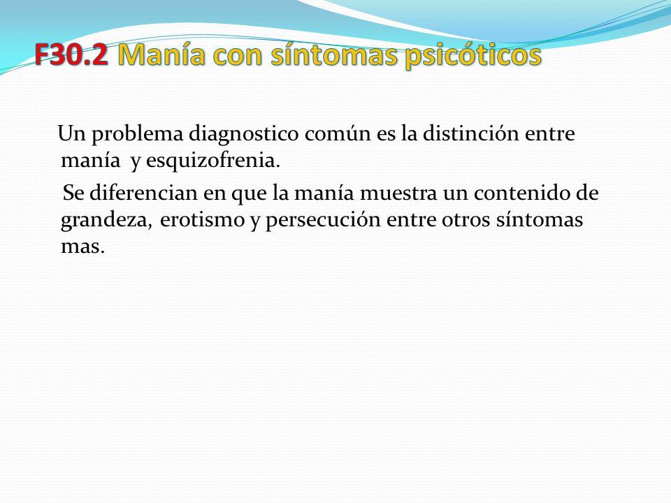 Un problema diagnostico común es la distinción entre manía y esquizofrenia. Se diferencian en que la manía muestra un contenido de grandeza, erotismo