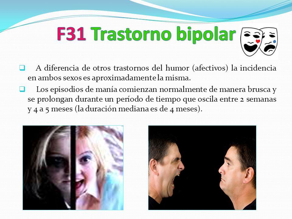 A diferencia de otros trastornos del humor (afectivos) la incidencia en ambos sexos es aproximadamente la misma. Los episodios de manía comienzan norm