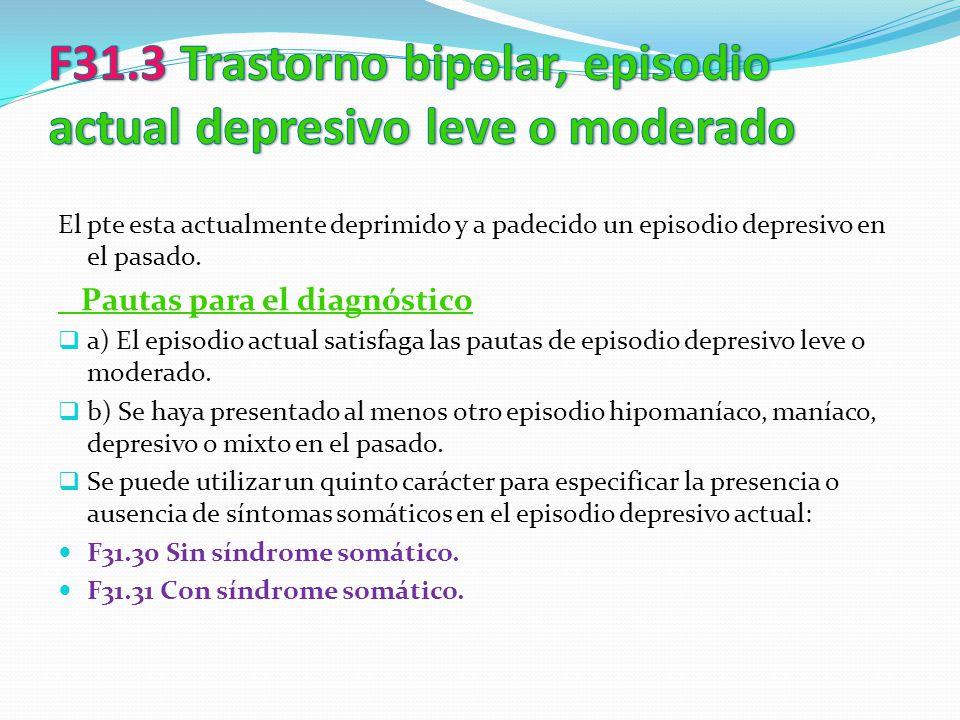 El pte esta actualmente deprimido y a padecido un episodio depresivo en el pasado. Pautas para el diagnóstico a) El episodio actual satisfaga las paut