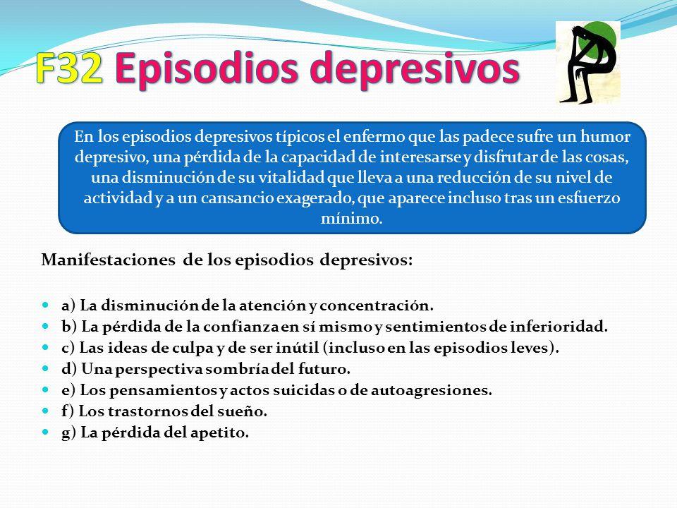 Manifestaciones de los episodios depresivos: a) La disminución de la atención y concentración. b) La pérdida de la confianza en sí mismo y sentimiento