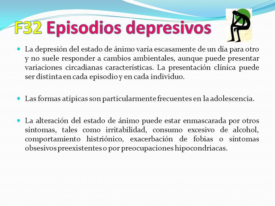 La depresión del estado de ánimo varía escasamente de un día para otro y no suele responder a cambios ambientales, aunque puede presentar variaciones