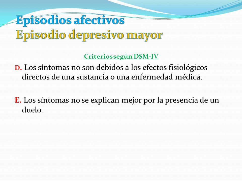 Criterios según DSM-IV D. Los síntomas no son debidos a los efectos fisiológicos directos de una sustancia o una enfermedad médica. E. Los síntomas no