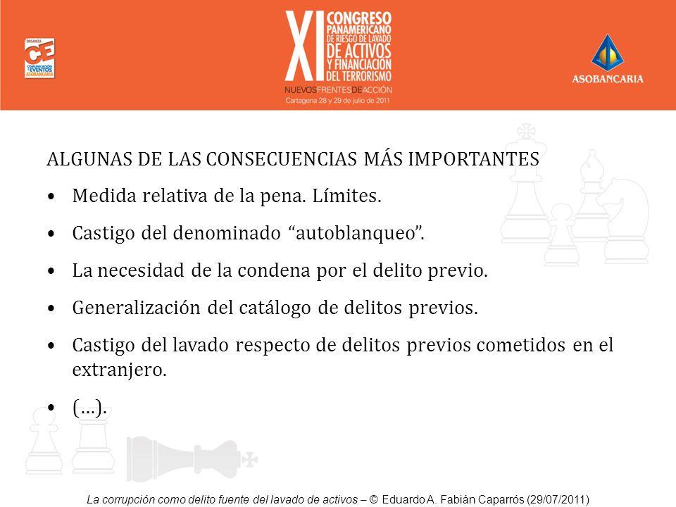 La corrupción como delito fuente del lavado de activos – © Eduardo A. Fabián Caparrós (29/07/2011) ALGUNAS DE LAS CONSECUENCIAS MÁS IMPORTANTES Medida