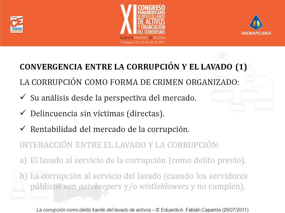 CONVERGENCIA ENTRE LA CORRUPCIÓN Y EL LAVADO (1) LA CORRUPCIÓN COMO FORMA DE CRIMEN ORGANIZADO: Su análisis desde la perspectiva del mercado. Delincue