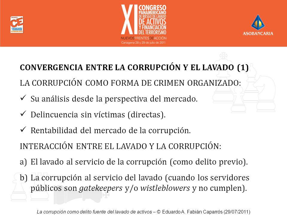 La corrupción como delito fuente del lavado de activos – © Eduardo A. Fabián Caparrós (29/07/2011) CONVERGENCIA ENTRE LA CORRUPCIÓN Y EL LAVADO (1) LA