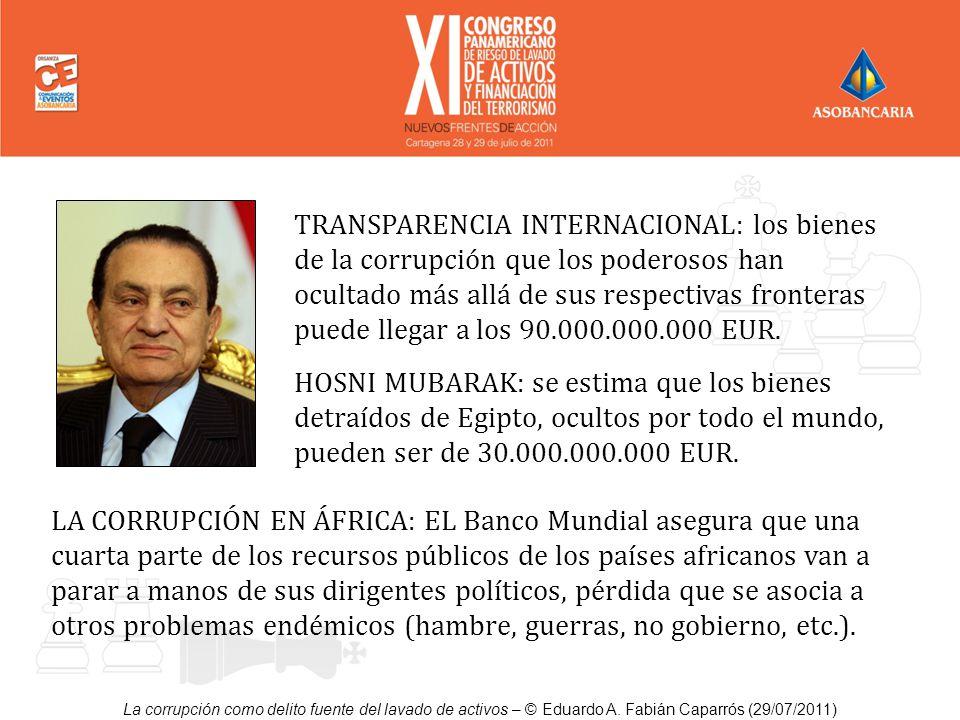 La corrupción como delito fuente del lavado de activos – © Eduardo A. Fabián Caparrós (29/07/2011) TRANSPARENCIA INTERNACIONAL: los bienes de la corru