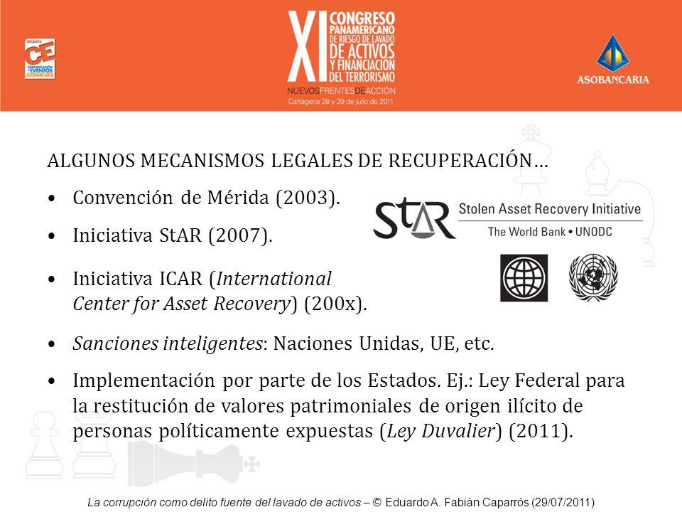 La corrupción como delito fuente del lavado de activos – © Eduardo A. Fabián Caparrós (29/07/2011) ALGUNOS MECANISMOS LEGALES DE RECUPERACIÓN… Convenc