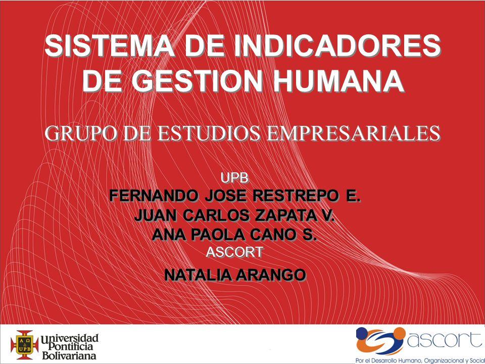 SISTEMA DE INDICADORES DE GESTION HUMANA GRUPO DE ESTUDIOS EMPRESARIALES UPB FERNANDO JOSE RESTREPO E.