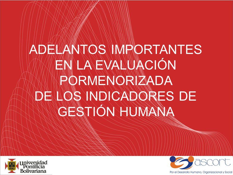 ADELANTOS IMPORTANTES EN LA EVALUACIÓN PORMENORIZADA DE LOS INDICADORES DE GESTIÓN HUMANA