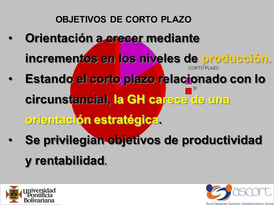 OBJETIVOS DE CORTO PLAZO CORTO PLAZO NO SI 16.67% 83.33% Orientación a crecer mediante incrementos en los niveles de producción.
