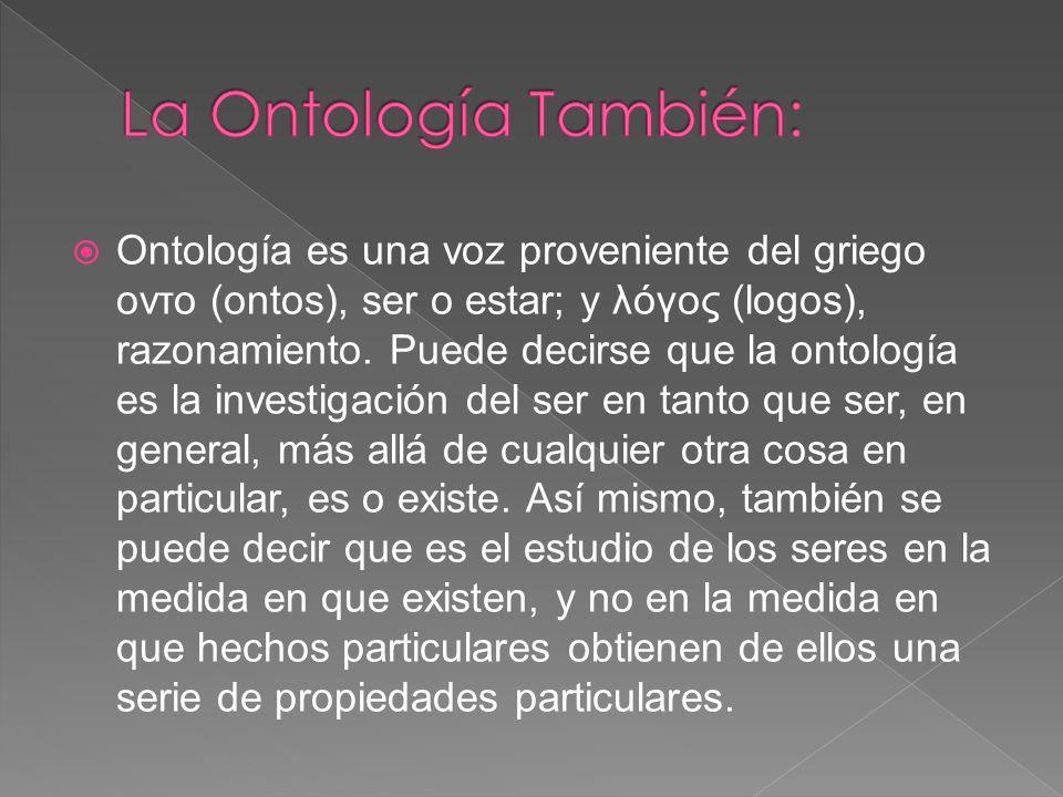 Ontología es una voz proveniente del griego οντο (ontos), ser o estar; y λóγος (logos), razonamiento.