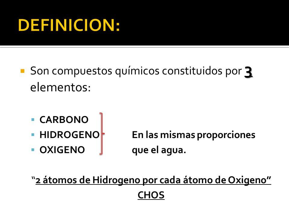 3 Son compuestos químicos constituidos por 3 elementos: CARBONO HIDROGENOEn las mismas proporciones OXIGENOque el agua. 2 átomos de Hidrogeno por cada